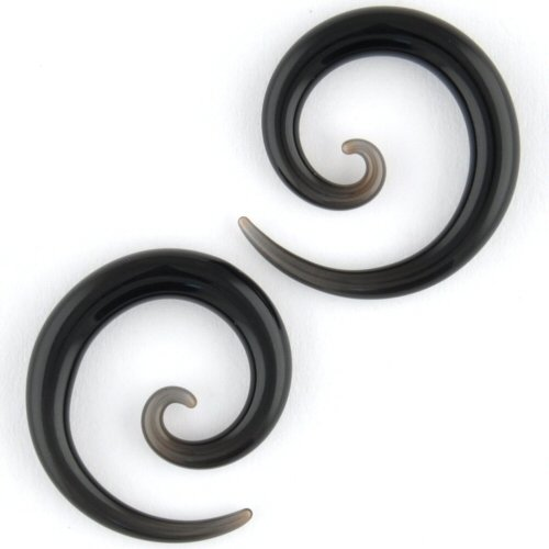 Pair of Glass Micro Spirals: 8g Black