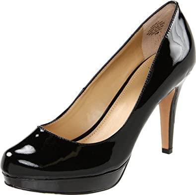 Circa Joan & David Women's Pearly Patent Platform Pump,Black Patent,5 M US