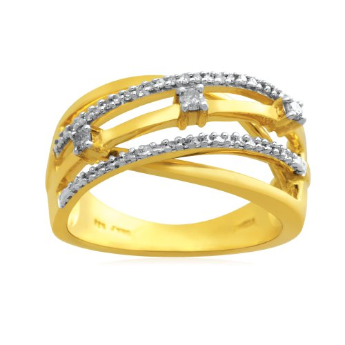 18k Gold Plated Sterling Silver Diamond Orbit Ring (1/5 cttw, I-J Color, I3 Clarity), Size 6