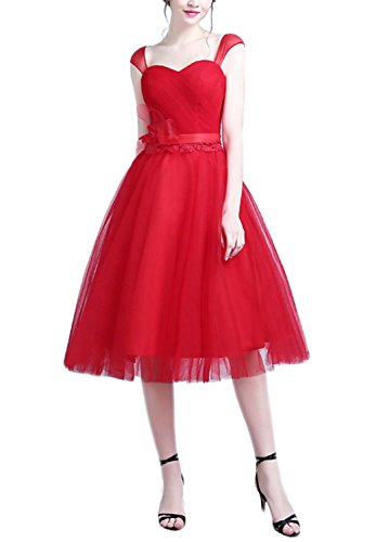 fanhao-ladies-cap-sleeves-lace-up-midi-short-wedding-bridesmaid-dressreds