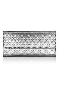 Stewart Stand Stainless Steel Diamond Continental Clutch Wallet (Silver)