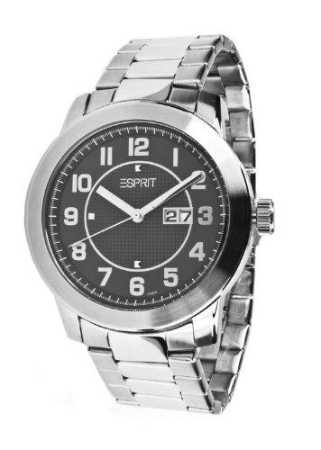 Esprit - ES102501005 - Montre Mixte adulte - Quartz Analogique - Cadran Noir - Bracelet Acier Argent