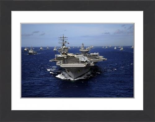 framed-print-of-aircraft-carrier-uss-ronald-reagan-leads-a-mass-formation-of-ships-through-the