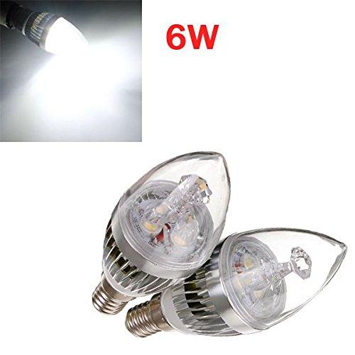 Dimmbare E14 6W 3 LED kaltweiß LED Silber Kerze-Birnen- 220V