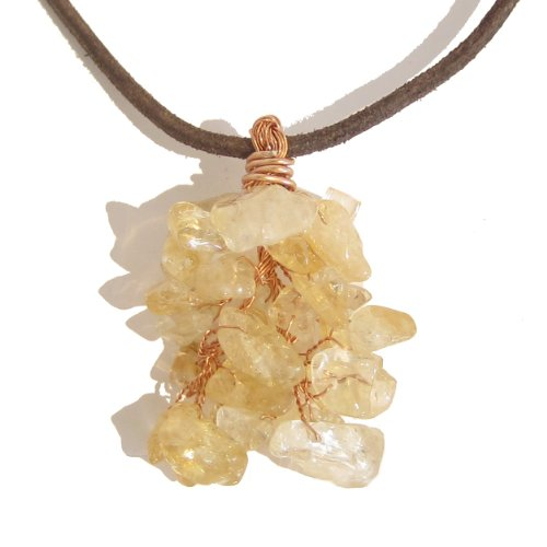 Citrine Necklace 06 Pendant Tree Yellow Brown Leather Stone Healing Crystals