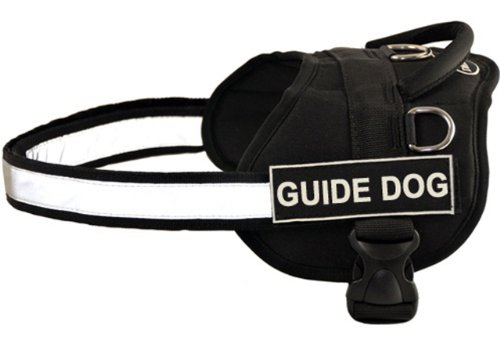 DT Works Harness, Guide Dog, Black/White, Small - Fits Girth Size: 25-Inch to 34-Inch