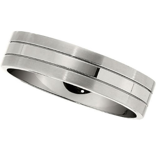 6.0mm Titanium Grooved Polished Band Size 13