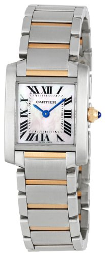 Cartier Tank Francaise 18kt Rose Gold and Steel Pink Mother-of-Pearl Ladies Watch W51027Q4