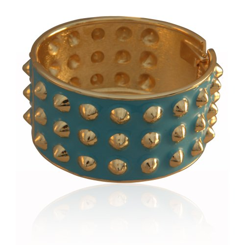 MizEllie Triple Studded Blue And Gold Hinged Bangle Bracelet