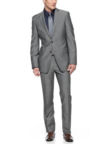 DKNYDonna Karan DKNY Slim Fit Gray 2-Button Suit 42 R 42R Flat Front Pants 35W