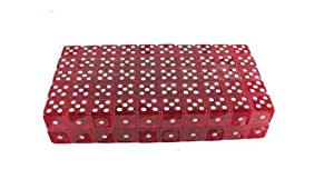 100 (One Hundred) 19mm 6 Sided Red Gaming Dice, Perfect for Poker Games and Card Games.