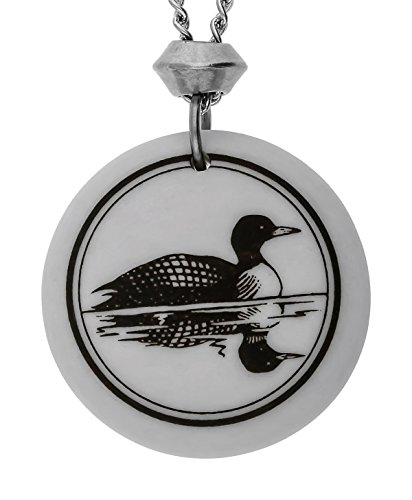 Handmade Common Loon Totem Round Porcelain Pendant (with 22 inch Chain)