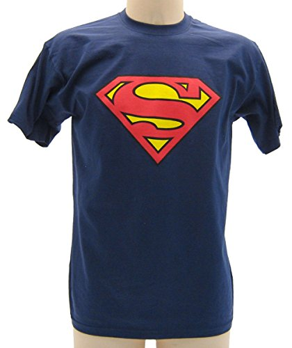 Maglietta SuperMan Blu Scuro - T-shirt Originale Superman, M (adulti)