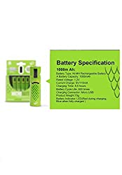 Microbatt Rechargeable AA battery,rechargable USB cell, charged by Micro USB cable Green (Set of 4)