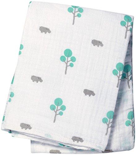 "Lulujo Baby Muslin Cotton Swaddling Blanket, Hippo/Aqua, 47"" x 47"""