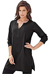 Roamans Women's Plus Size Y-Neck Max Tunic