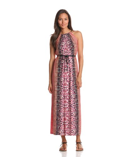 Maggy London Women's Printed Jersey Tribal Skin Maxi Dress, Coral, 12
