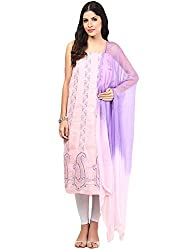 Nandini's Pink & Move Lucknawi Chikan Flowy Cotton Hand Embroidered Dress Material/ Unstitched Salwaar Kameez with Pure Chiffon Dupatta by SHENARO Lifestyle