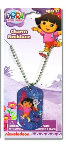 Dora the Explorer and Boots Metal Dog Tag Charm Necklace