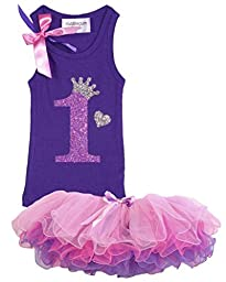 Bubblegum Divas Baby Girls\' 1st Birthday Shirt Purple Tutu Outfit 12 Months
