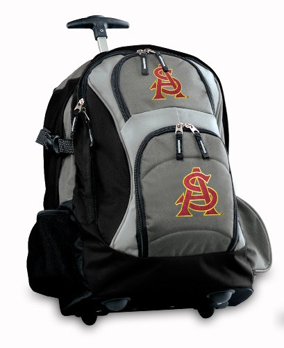 Asu Logo Rolling Backpack Deluxe Gray Arizona State University Best Backpacks B