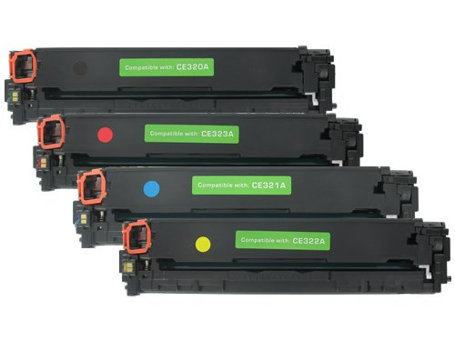 4-Pack ~ FULL SET of Remanufactured HP 128A (CE320BK/CE321C/CE322Y/CE323M)