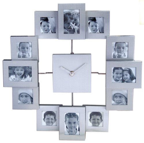 Photo-Frame-Clock-Add-12-Photos-Photo-Frame-Wall-Clock-Great-Personalised-Gift