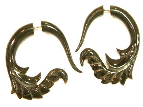 Illusion Fake Tapers Carved Black Buffalo Horn Organic Earrings Split Stretchers
