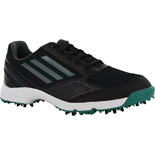 adidas JR Adizero Sport Golf Shoe (Little Kid/Big Kid), Black/Dark Silver, 2 M US Little Kid