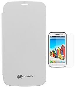 Evoque Flip Cover For Micromax Canvas A300 White + Screen Guard
