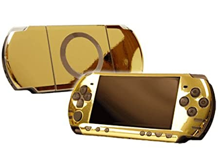 PlayStation Portable 2000 (PSP-Slim) Skin - NEW - GOLD CHROME MIRROR system skins faceplate decal mod