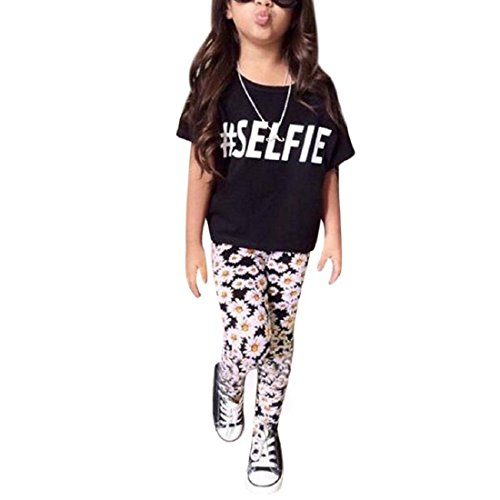 internet-kids-girls-outfit-clothes-t-shirt-tops-floral-long-pants-trousers-100-3-4years-black