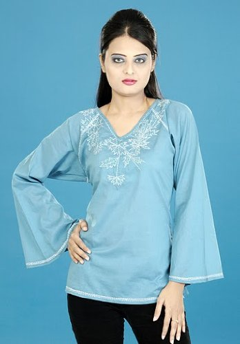 long sleeve cotton embroidered work ladies / womens tops / tunics / dresses