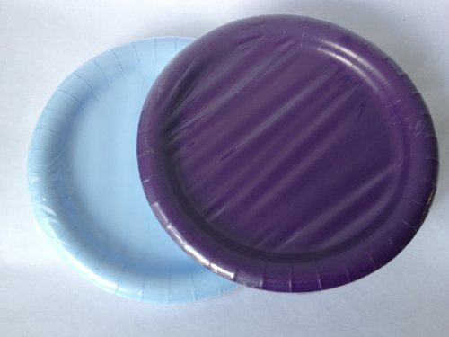 Pastel Blue & Purple Paper Party Plates 8.75 in - (40) Plates!