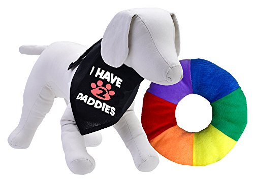 I Have 2 Daddies Bandana For Dogs Plus Rainbow Ring Squeak Toy (Large Bandana) back-115967