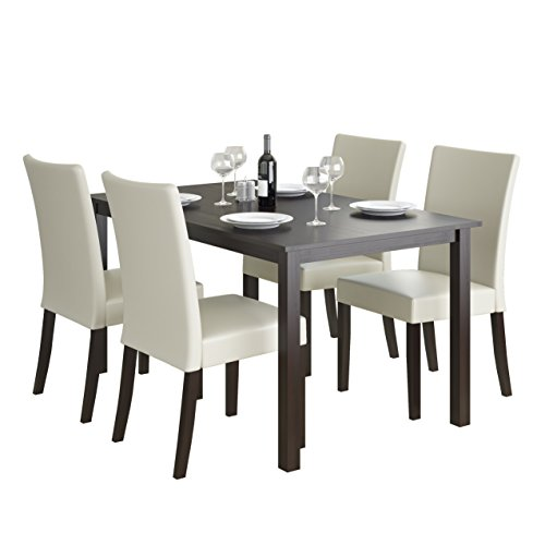 CorLiving DRG-795-Z3 Atwood 5pc Dining Set, with Cream Leatherette Seats