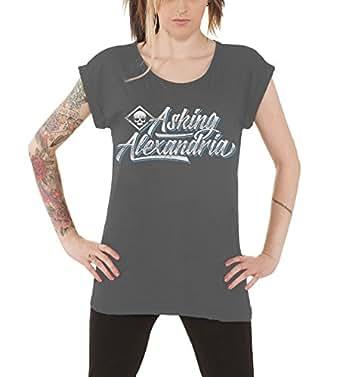 Amazon.com: Asking Alexandria Distressed Script Logo Official Womens
