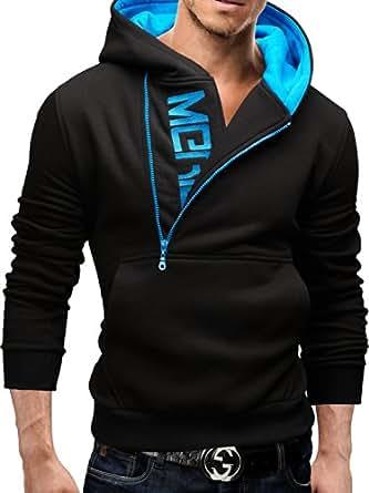 Merish Kapuzenpullover Pullover Slim Fit Sweatshirt 08 Schwarz/blau S