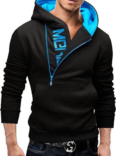 Merish Kapuzenpullover Pullover Slim Fit Sweatshirt 08 Schwarz/blau M