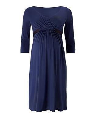 Maternity Navy V-Neck Three-Quarter Sleeve Grograin Dress