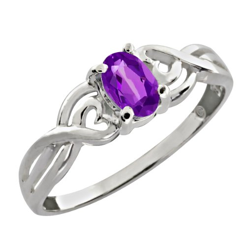 0.45 Ct Oval Natural Purple Amethyst 925 Sterling Silver Ring
