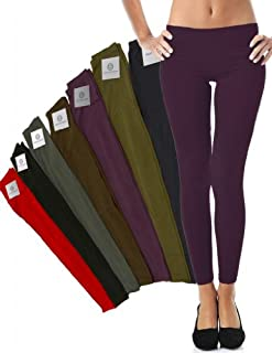 Mato & Hash Women's 90/10 Cotton Spandex Tights Pant Leggings Plum 2XL