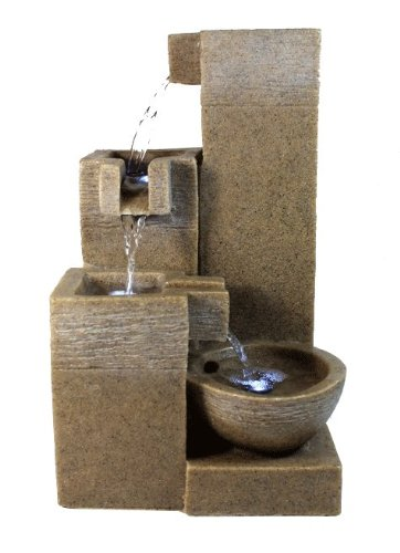 Rock Stone LED Indoor Tabletop Water Fountain Four Layers