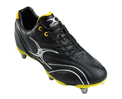 GILBERT Junior Sidestep Zenon Lo 6 Stud Rugby Boot, Black/Yellow, UK3
