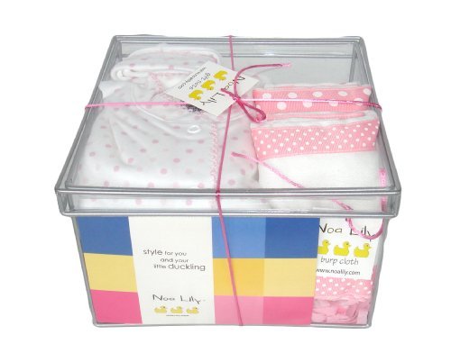 Noa Lily Medium Layette Gift Basket, Pink Dot, 6 Months