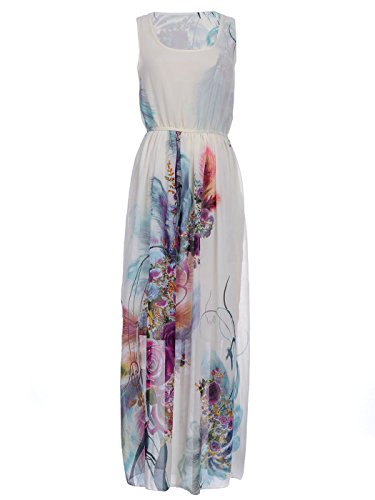 Anna-Kaci S/M Fit Beige With Multicoloured Exotic Flower Print Knife Pleat Dress