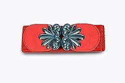 Women red fabric belt