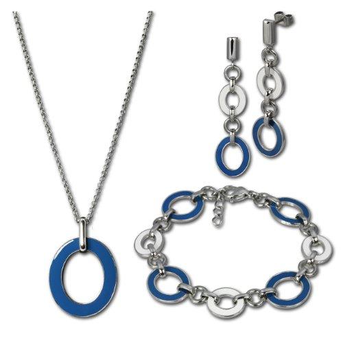 Set SterlinX-orecchini + collana + bracciale in Stainless Steel con blu-bianco smaltato in Stainless Steel della collezione di SterlinX d1essg01b