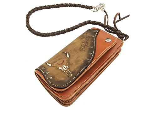 Geronimo Men's Leather Long Wallet G1651C03 Hand Carved and Studded One Size (Native Indian Makeup)