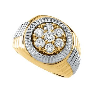 Beautiful! Rolex-style 14k High Polish Yellow-gold White-gold Men's 11/2 CT TW Diamond Ring